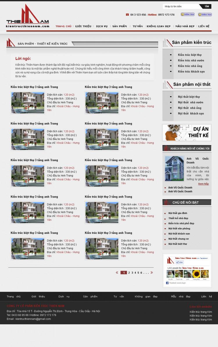 Hình ảnh thiết kế trang chuyên mục sản phẩm web Thiên Nam 1